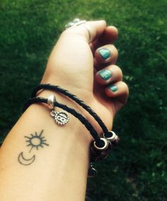 Simple Moon And Sun Tattoo Small sun and moon tattoo Sun Tattoos, Wrist Tattoos, Body Art Tattoos, Tatoos, Ankle Tattoo, Tattoo Art, Arm Tattoo, Tattoo Quotes, Pretty Tattoos
