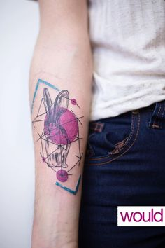 #tattoo #rabbit #geometric #color #circles #cute #arm #lines