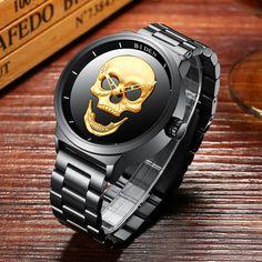 Muži hodinky Retro 3D lebka nerezová ocel Mužské sportovní hodinky Módní  černé náramkové hodinky Relogio Masculino 2018 Nový styl a61aa27c61e