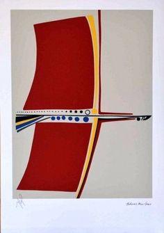 aldemir martins - pássaro vermelho  serigrafia
