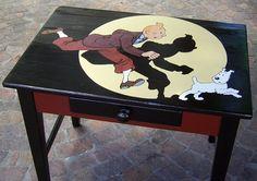 Tintin Painted Desk by Christine Hansen Blake Et Mortimer, Wire Fox Terrier, Fox Terriers, Homemade Art, Ligne Claire, Snoopy, Fun Comics, Vintage Crochet, Summer Diy