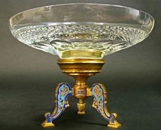"""19th C. French Champleve Enamel & Baccarat Crystal CenterpieceH: 7""""D: 10.1/4""""."""