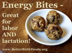 Vegan & GF energy balls for pregnancy, labor & lactation (oatmeal and flaxseed like lactation cookies.)  And they are DELICIOUS!
