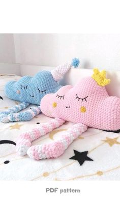 Crochet Angel Pattern, Crochet Bunny, Crochet Patterns Amigurumi, Crochet For Kids, Crochet Animals, Crochet Pillow Pattern, Baby Pillows, Kids Pillows, Animal Pillows
