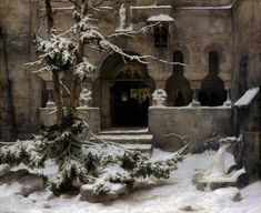 "Carl Friedrich Lessing (German, ""Klosterhof im Schnee/Monastery Courtyard in the Snow"" (ca. Oil on canvas, 59 x 74 cm, Cologne (Köln), Wallraf-Richartz-Museum & Fondation Corboud; Caspar David Friedrich, Carl Friedrich, The Snow, The Magic Faraway Tree, Art Graphique, John Singer Sargent, Dark Fantasy, Landscape Paintings, Snow"