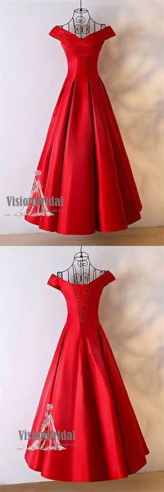 Elegant Red Off Shoulder Lace Up Satin Prom Dress, Lovely Prom Dress, VB0670 #promdress #promdresses #prom