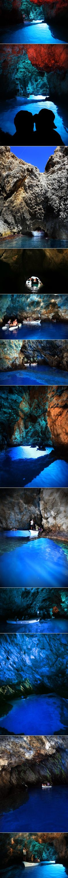Modra špilja, Biševo, Croatia. The Blue Cave, one of the most attractive natural phenomena in the Adriatic, is located on the small island of Biševo near Vis. It is only 17 meters wide and 31 meters long. The cave is accessible through a narrow sea passage between the rocks. Sunlight comes in through an underwater opening, flooding the sea and the visitors with silver and blue colors. The only known habitat for the monk seal is right next to it.