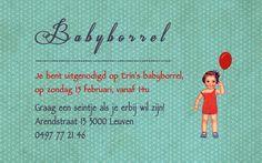 Geboortekaartje Erinn - uitnodiging voor de babyborrel - Pimpelpluis - https://www.facebook.com/pages/Pimpelpluis/188675421305550?ref=hl (# retro - meisje - lief - popje - ballon - origineel)