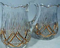 Art Nouveau Antique Leaded Glass Cream and Sugar, gorgeous set.