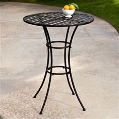 Black Wrought Iron Outdoor Bistro Patio Table W/Timeless Round Tabletop