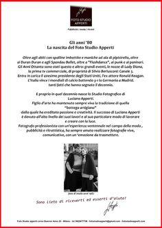 Una breve descrizione di Luciano Apperti e della nascita del suo studio fotografico.