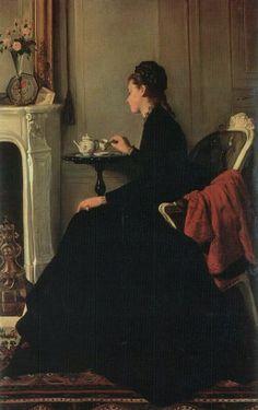 Eva Gonzalès (French artist, 1849~1883) :: Le Thé ca 1865~1869
