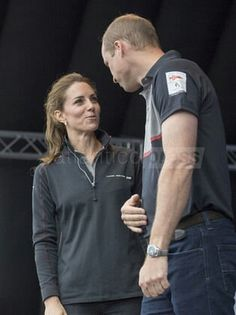 Royal visit to Portsmouth. The Duke and Duchess of Cambridge visit team exhibits in the Race Village during a visit to Portsmouth to see the America's Cup World Series. Picture date: Sunday July 24, 2016