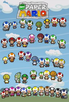 Almost every Toad of the game Paper Mario from my New Paper Mario project. New Paper Mario 45 Toads Mario Video Game, Video Game Art, Mario And Luigi, Mario Kart, Super Mario Brothers, Super Mario Bros, Toad House, Paper Mario, Nerd Love