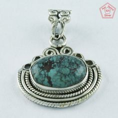 92.5 SOLID STERLING SILVER TURQUOISE STONE HANDMADE BEAUTY PENDANT #SilvexImagesIndiaPvtLtd #Pendant