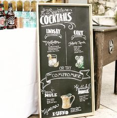 Can't decide on a cocktail of choice? Compromise. Cute chalkboard wedding decor.