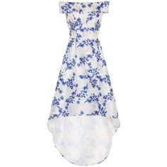 **Chi Chi London Floral dip hem maxi dress ($89) ❤ liked on Polyvore featuring dresses, blue, blue maxi dress, hi low dress, hi lo dresses, white maxi dress and white hi low dress