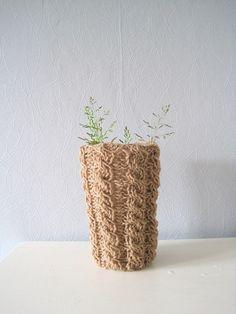 Cup cozy glass cableknit cozy cafe au lait cup by woolpleasure, $14.00