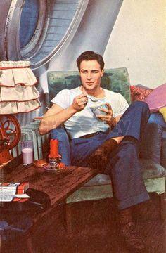 "Marlon Brando while filming ""A Streetcar Named Desire"". in 1951."