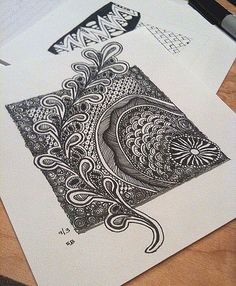 Zentangle - embossing folder extending design beyond square