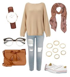 """""""Untitled #10"""" by zbourzouk on Polyvore featuring Converse, Kate Spade and Daniel Wellington"""