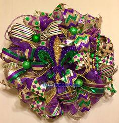 Fleur De Lis Wreath, Mardi Gras Wreath New Orleans Fat Tuesday Wreath, Mardi Gras Whimsical Wreath, Mardi Gras Decor Wreath, One of Kind MG Mardi Gras Centerpieces, Mardi Gras Decorations, Mardi Gras Outfits, Mardi Gras Costumes, Mardi Gras Food, Mardi Gras Party, Mardi Gras Wreath, Holiday Mood, Whimsical Christmas