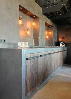 cuisine en beton et jolies lampes diy
