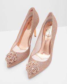 Brooch detail court shoes - Rose Gold | Shoes | Ted Baker UK #sandalsheelswedding