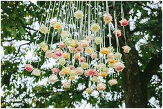 hanging wedding flowers / © James & Lianne Photography