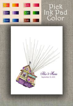 Wedding Guestbook Alternative Flying House with Thumbprint / Fingerprint Balloons 100-200 signatures ink pad Disney Up Inspired Sketch