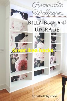 How To Apply Removable Wallpaper To Ikea Billy Bookshelves- Upgrade Your . - How To Apply Removable Wallpaper To Ikea Billy Bookshelves- Upgrade Your Billy Bookshelves Using Th - Ikea Regal, Diy Regal, Ikea Furniture, Furniture Makeover, Furniture Design, Diy Interior, Diy Instagram, Living Pequeños, Diy Design