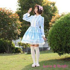 Fairy Tale Sky Blue Swan Lake Print Classic Retro Lady Lolita Dress Princess Girl Party Dress