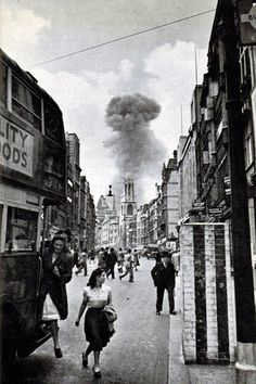 A V-1 flying bomb lands in a street off Drury Lane, London 1944 [736 × 1106]