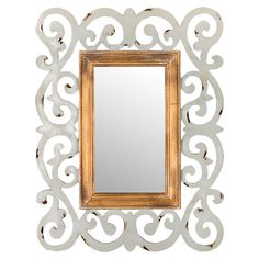 Aurora Wall Mirror - hand-carved scrolling frame and gleaming metallic. == @scrapwedo