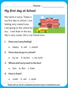 First Grade Reading Comprehension, Picture Comprehension, Phonics Reading, Reading Comprehension Worksheets, Reading Passages, Reading For Grade 1, English Worksheets For Kids, English Lessons For Kids, English Writing Skills