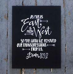 psalm 119:105 hand lettered | Psalm 103:12 Hand lettered by: Red Arrow Lettering