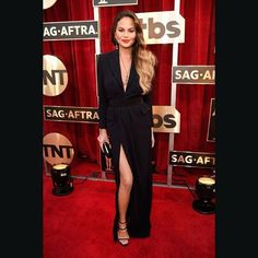 @chrissyteigen subtly reveals cleavage in this razor sharp cut dress. #SAGawards 2017 #bazaarthailand #harpersbazaarthailand  GETTY  via HARPER'S BAZAAR THAILAND MAGAZINE OFFICIAL INSTAGRAM - Fashion Campaigns  Haute Couture  Advertising  Editorial Photography  Magazine Cover Designs  Supermodels  Runway Models