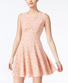 Image 1 of City Studios Juniors' Lace Fit & Flare Dress Fit N Flare Dress, Fit And Flare, Rose Pink Dress, Rose Lace, Pink Lace, City Studio Dress, Review Dresses, Chic Dress, Junior Dresses