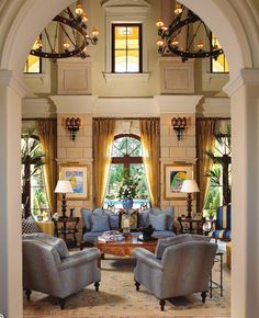 Design by Susan Gale & Associates, Inc.....love the chandeliers....