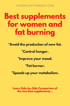 Best supplements for women for fat burning. Get it fast before it gets sold out online. There are different supplements on the market to burn fat and lose weight. Comparison of 2 of best fat burning supplements for women. These diet pills helps you improve your mood, Control hunger, Avoid the production of new fat, and more. Which is the best? Only one is the most effective... #bestsupplementsforwomenfatburning #bestweightlosssupplementsforwomenfatburning #bestfatburningsupplementsforwomen Fat Burner Supplements, Weight Loss Supplements, Supplements For Women, Best Supplements, Belly Fat Burner, Best Weight Loss Supplement, Quick Weight Loss Tips, Lose Weight In A Month, Natural Detox