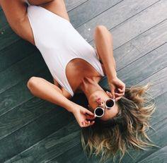 Swimwear: tumblr white one piece swimsuit summer sunglasses white sunglasses round sunglasses