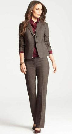 Signature Grisaille Trousers | Jacket | Silk Shirt | Ann Taylor