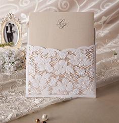 elegante de marfil y blanco láser invitaciones de la boda de encaje de corte
