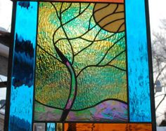 Stained Glass Window Tree Yellow Moon round by stainedglassfusion
