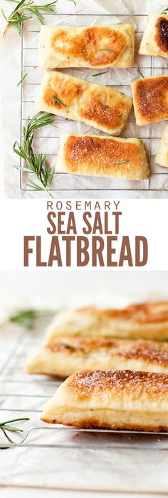 Rosemary sea salt flatbread with olive oil is so soft and chewy - hard to believe it starts with pizza dough! Or roll thin dough for crispy crackers! :: DontWastetheCrumbs.com
