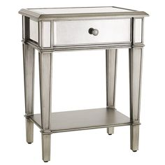 "Hayworth Nightstand - Silver $269.95 item: 2222469 22""W x 16""D x 28.50""H Mixed woods, mirrored glass, metal"