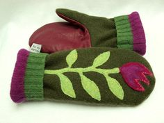 Upcycled Felted Wool Mittens in Green, Red and Pink with Flower Applique