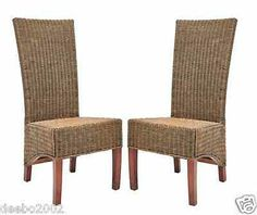 High Back Chair Patio Office Woven Wicker Furniture Dining Indoor Set Of 2 NEW