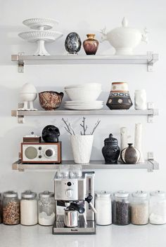 organize open shelving in the kitchen