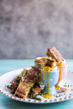 Drippy Eggs with Asparagus French Toast Grilled Cheese Soldiers | halfbakedharvest.com @hbharvest